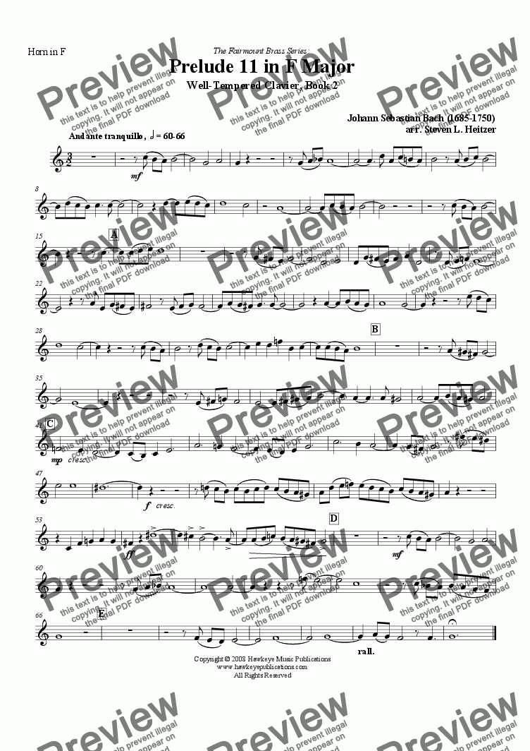 page one of the Horn in F part from Prelude 11, F major (WTC Bk 2) - Brass QUINTET
