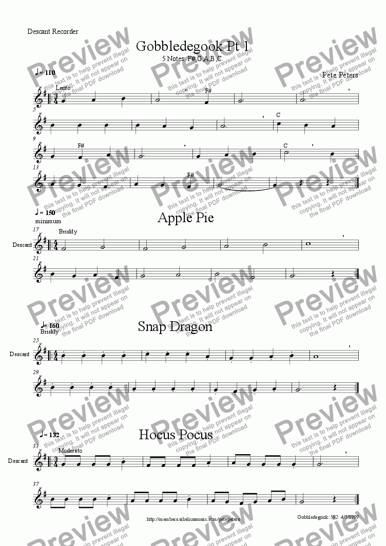 page one of the Recorder or Flute part from Gobbledegook Part 1