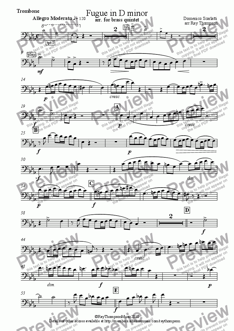 page one of the tbn part from Fugue in D minor