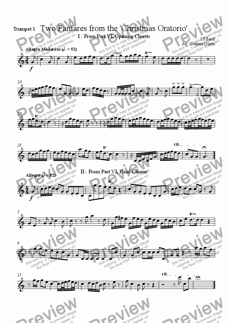 page one of the Trumpet 1 part from Two Fanfares from the 'Christmas Oratorio'