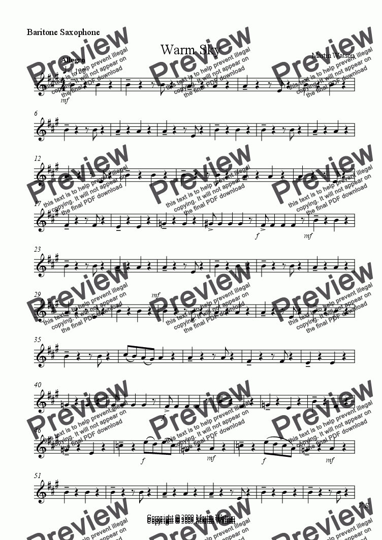 page one of the Baritone Saxophone part from Warm Sky for Saxophone Quartet.