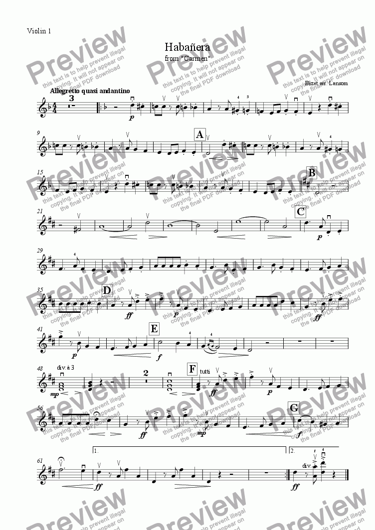 page one of the Violin 1 part from Habanera