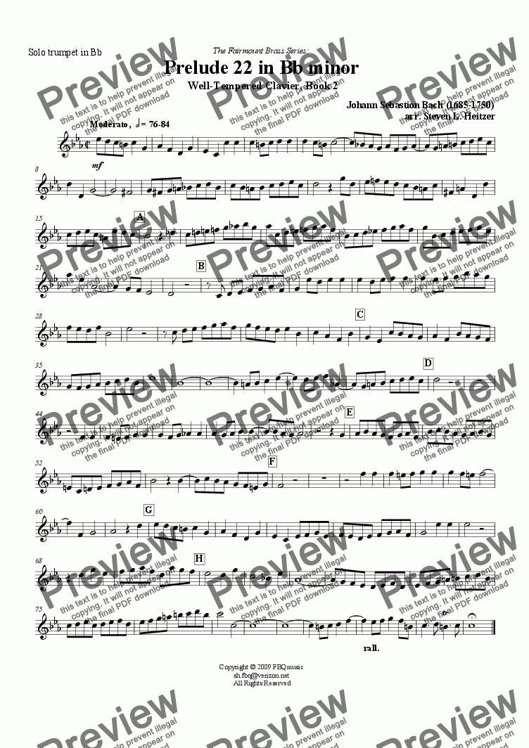 page one of the Trumpet in Bb part from Prelude 22, Bb minor (WTC Bk 2) - TRUMPET & piano