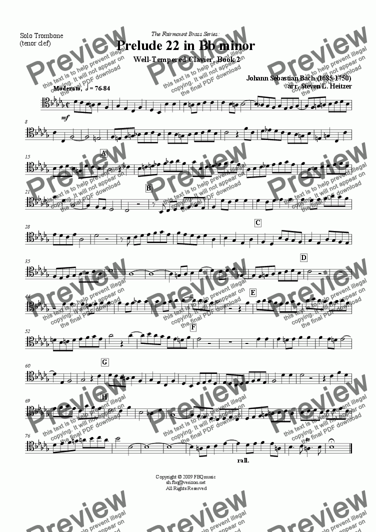 page one of the Trombone (tenor clef) part from Prelude 22, Bb minor (WTC Bk 2) - EUPHONIUM (Trombone) & piano