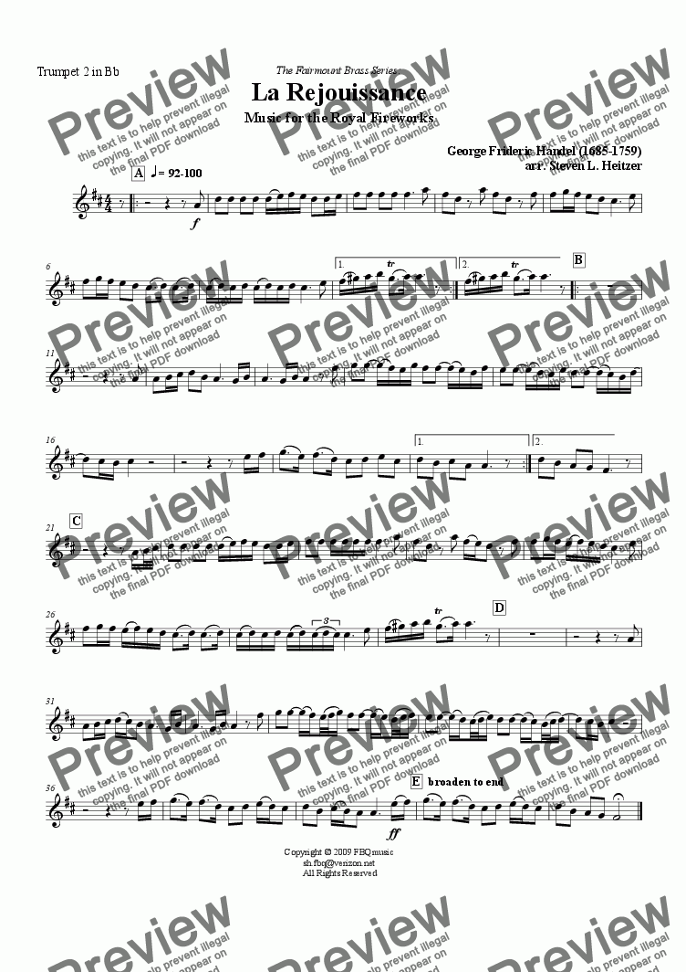 page one of the Trumpet 2 in Bb part from La Rejouissance, Music for the Royal Fireworks - Trumpet QUINTET