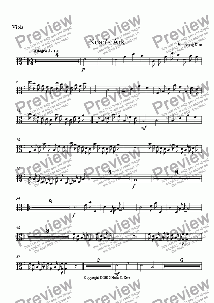 page one of the Viola part from Noah's Ark