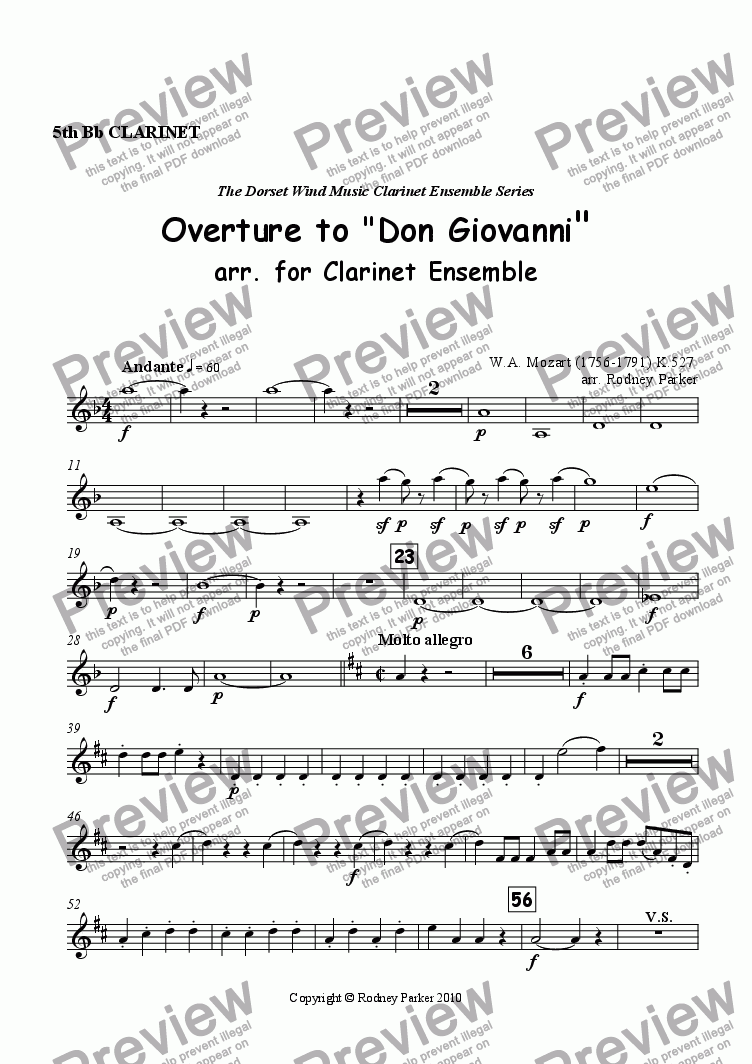page one of the 5th Clarinet part from Overture to 'Don Giovanni' arr. for Clarinet Ensemble
