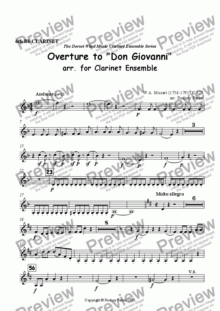 page one of the 6th Clarinet part from Overture to 'Don Giovanni' arr. for Clarinet Ensemble