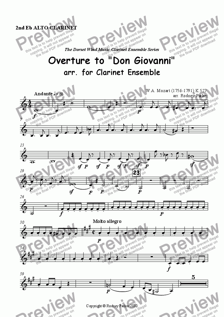 page one of the 2nd Alto Clarinet part from Overture to 'Don Giovanni' arr. for Clarinet Ensemble