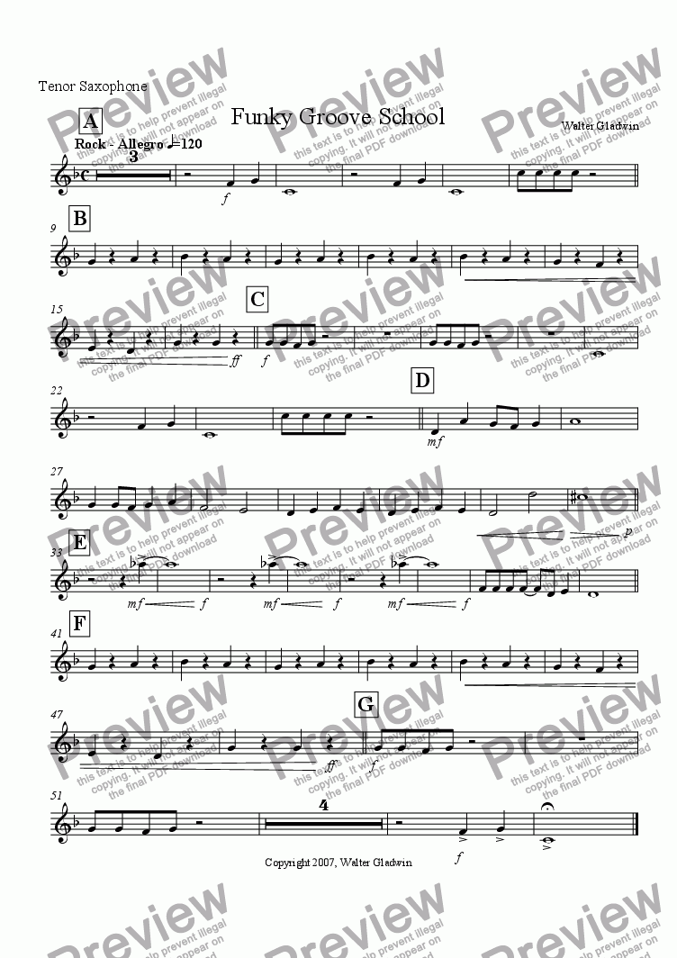 page one of the Tenor Saxophone part from Funky Groove School