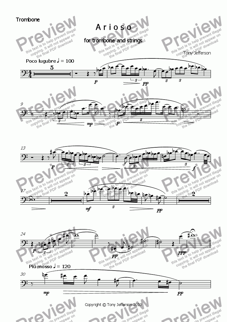 page one of the Trombone part from Arioso   (for Trombone and Strings)