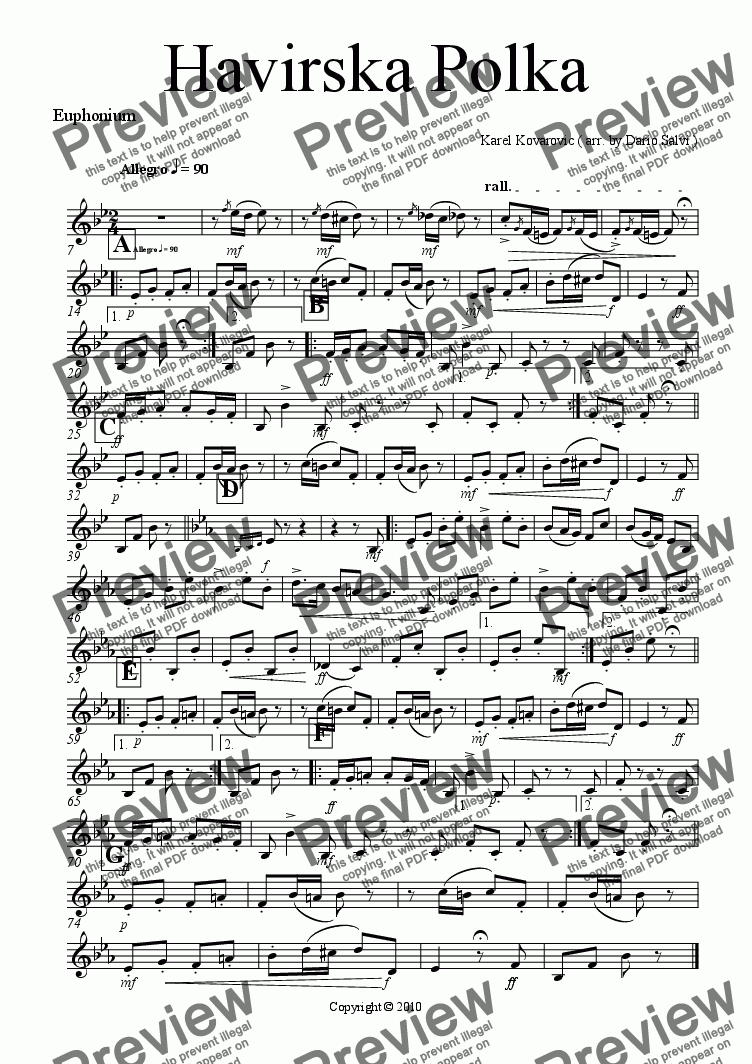 page one of the euphonium TC part from Havirska Polka