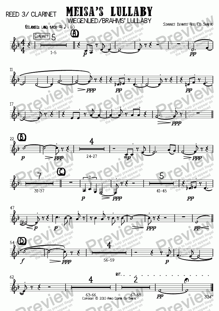 page one of the Reed III/ Clarinet part from Meisa's Lullaby [Wiegenlied/Brahms' Lullaby]