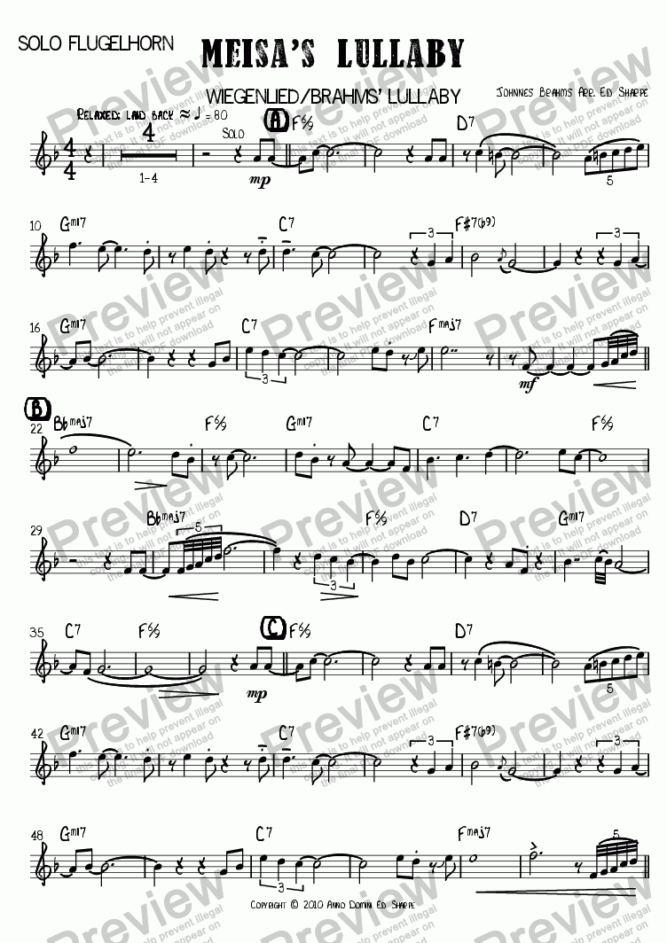 page one of the Solo Flugelhorn part from Meisa's Lullaby [Wiegenlied/Brahms' Lullaby]