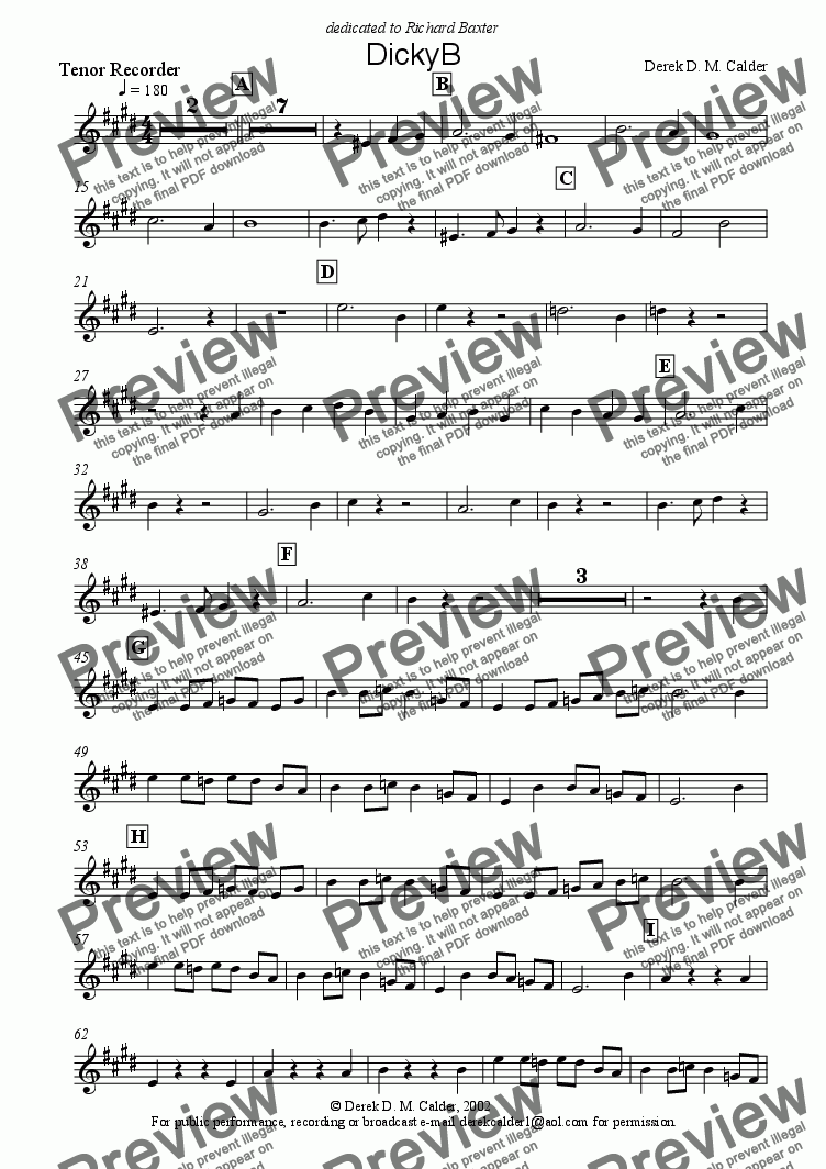 page one of the Tenor Recorder part from DickyB
