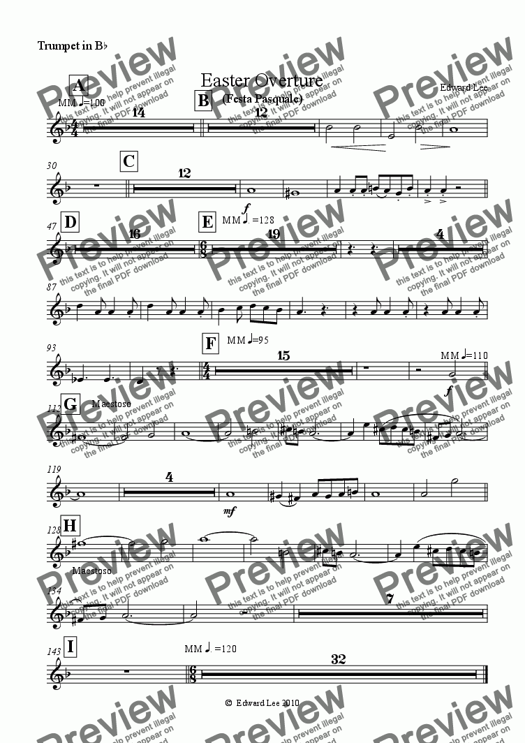 page one of the trumpet part from Easter Overture (for amateur orchestra)