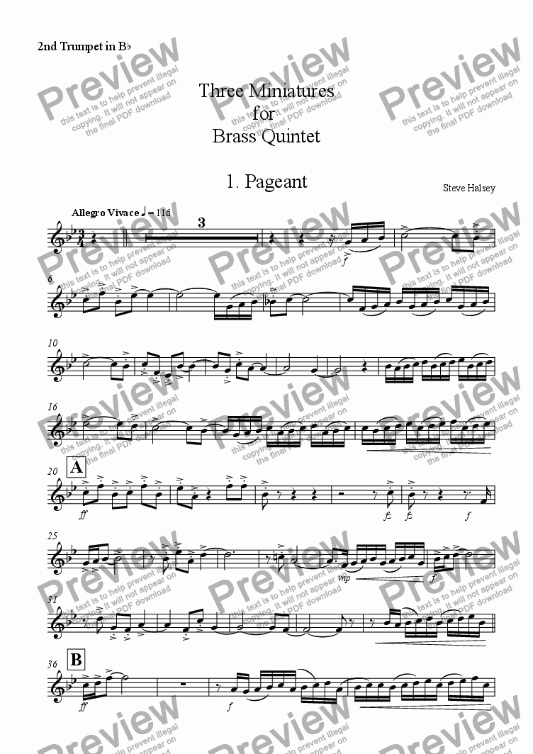 page one of the Trumpet 2 part from Three Miniatures for Brass Quintet
