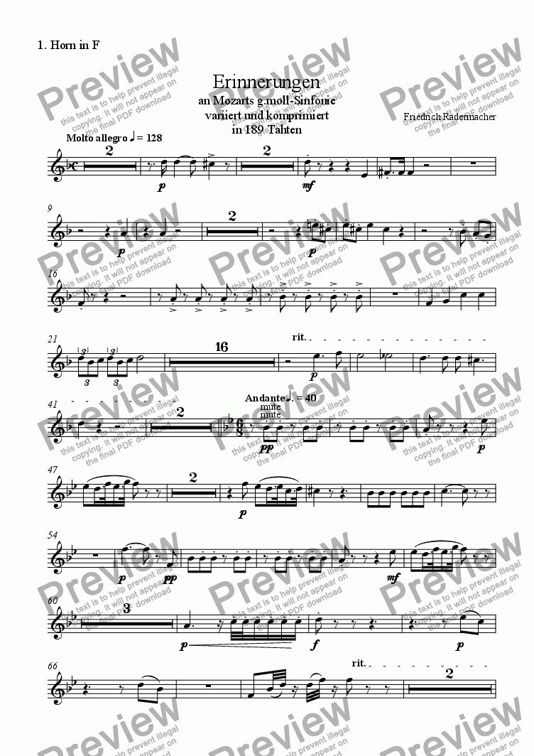 "page one of the 1. Horn in F part from ""Erinnerungen"" an Mozarts g-moll-Sinfonie"