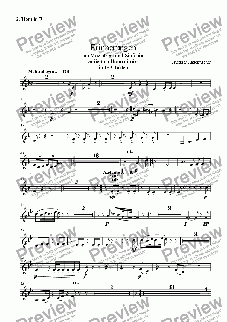 "page one of the 2. Horn in F part from ""Erinnerungen"" an Mozarts g-moll-Sinfonie"