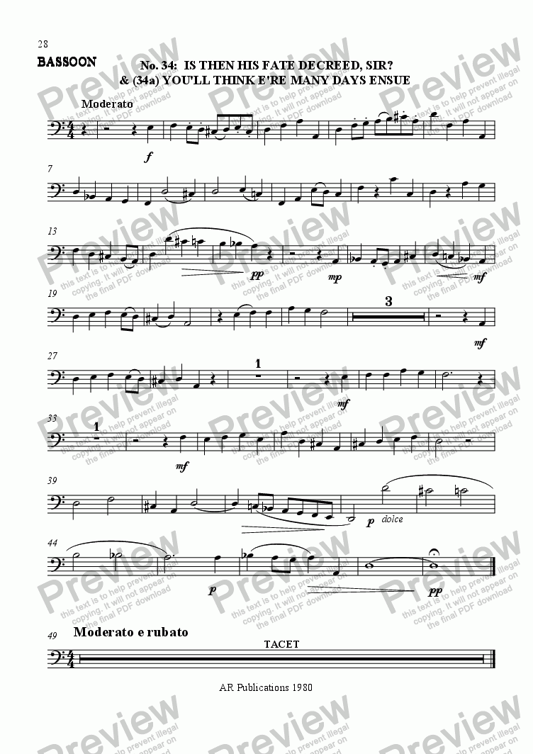 page one of the Bassoon part from Beggar's Opera - No. 34, 35, 36, 37, 38 & 39