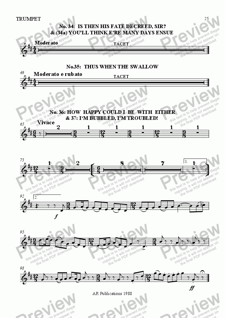 page one of the Trumpet part from Beggar's Opera - No. 34, 35, 36, 37, 38 & 39