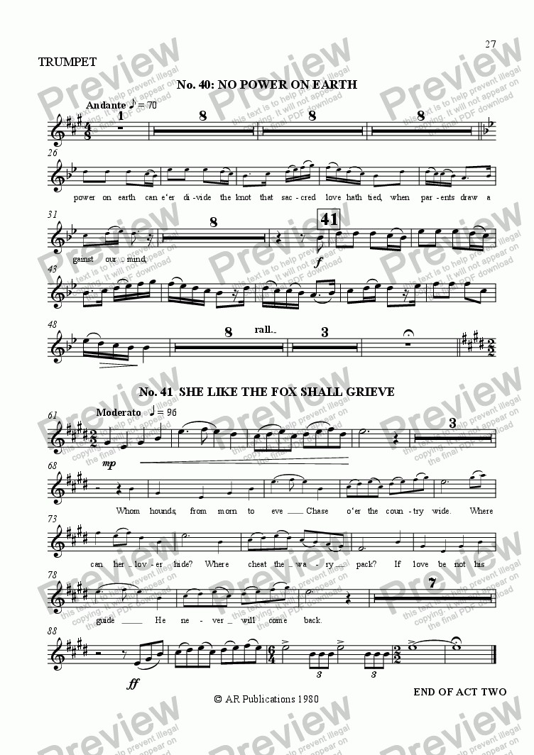 page one of the Trumpet part from Beggar's Opera - No. 40 & 41