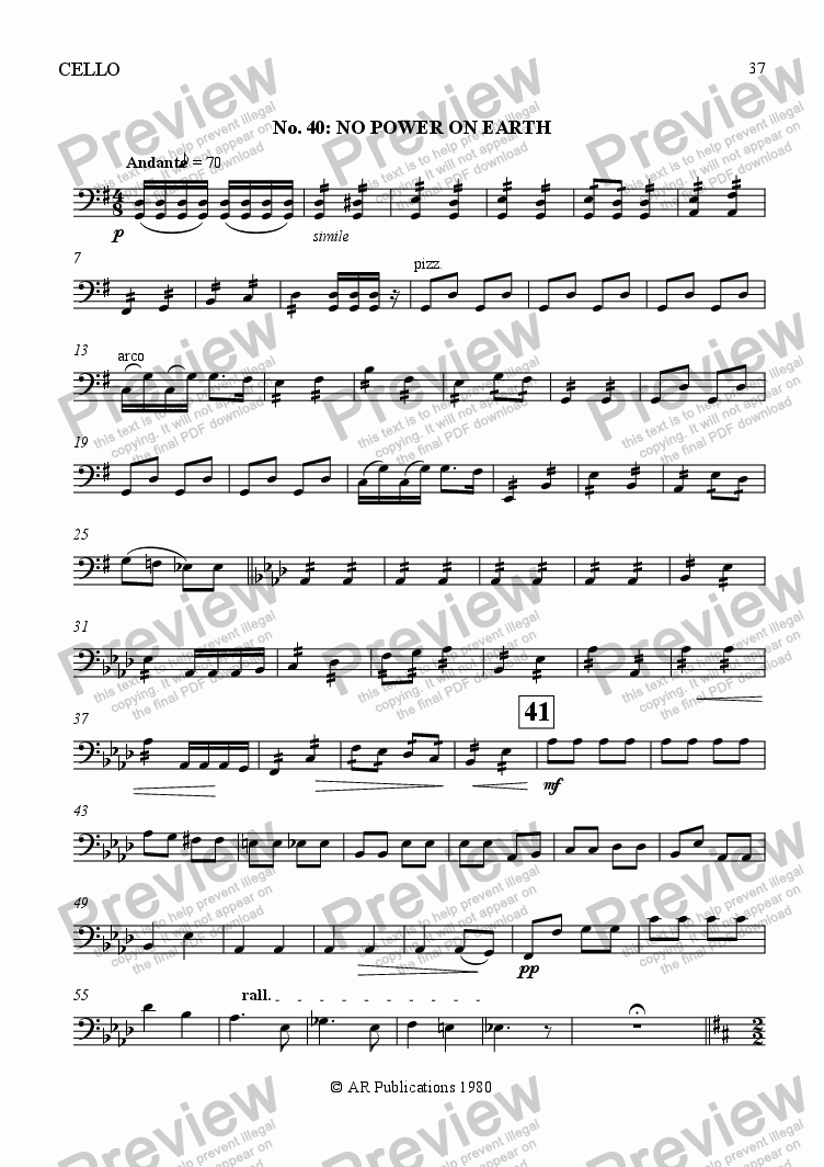 page one of the Cello part from Beggar's Opera - No. 40 & 41