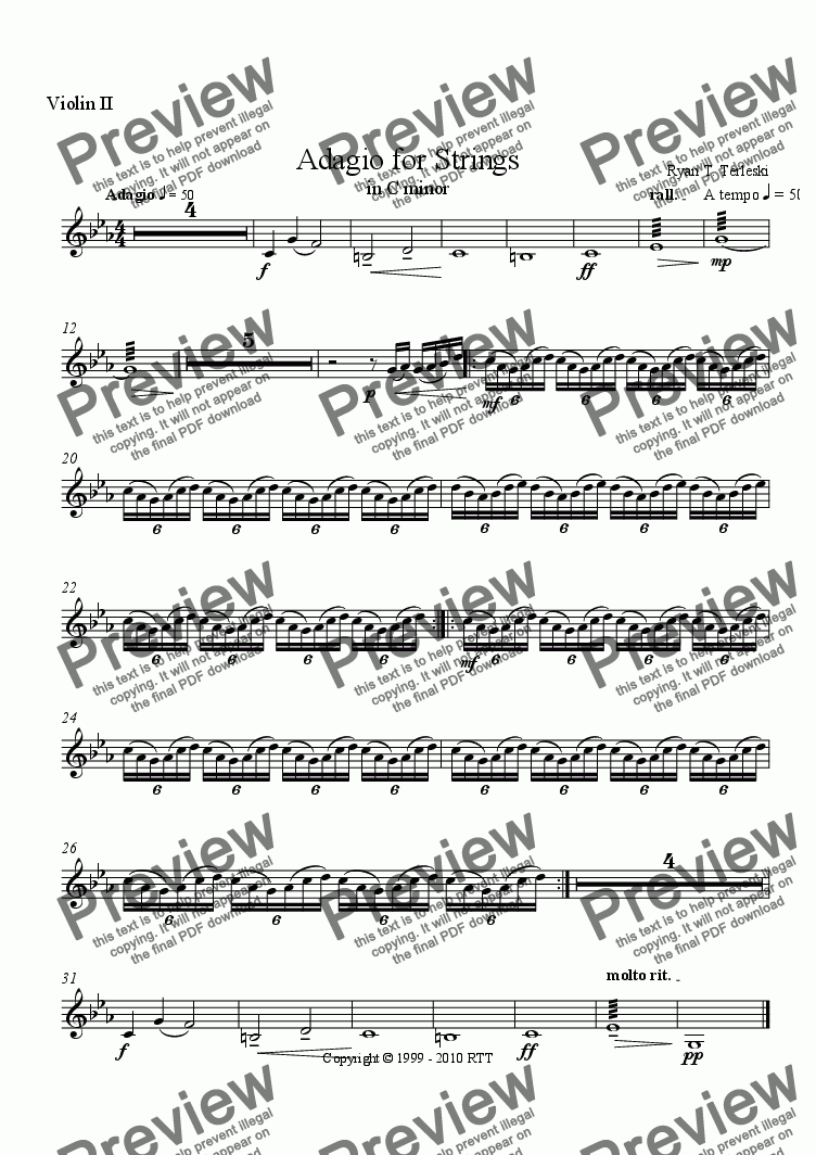 page one of the Violin 2 part from Adagio for Strings in C minor.