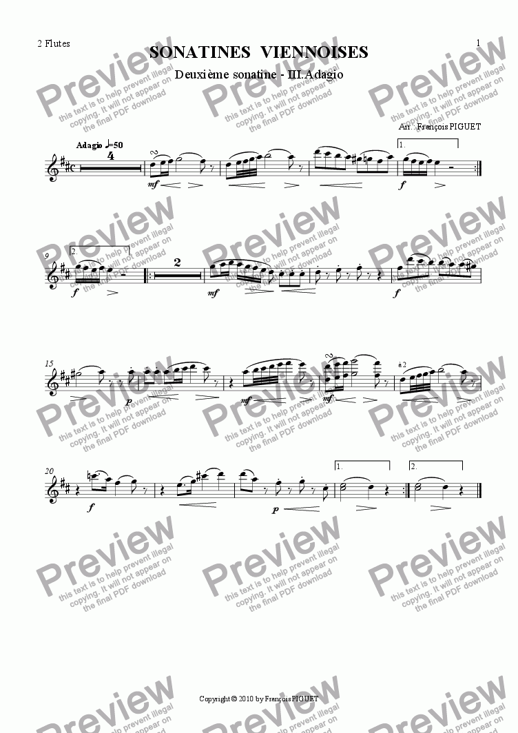 page one of the 2 Flutes part from MOZART: Viennese Sonatina Nr 2/III arranged for chamber orchestra