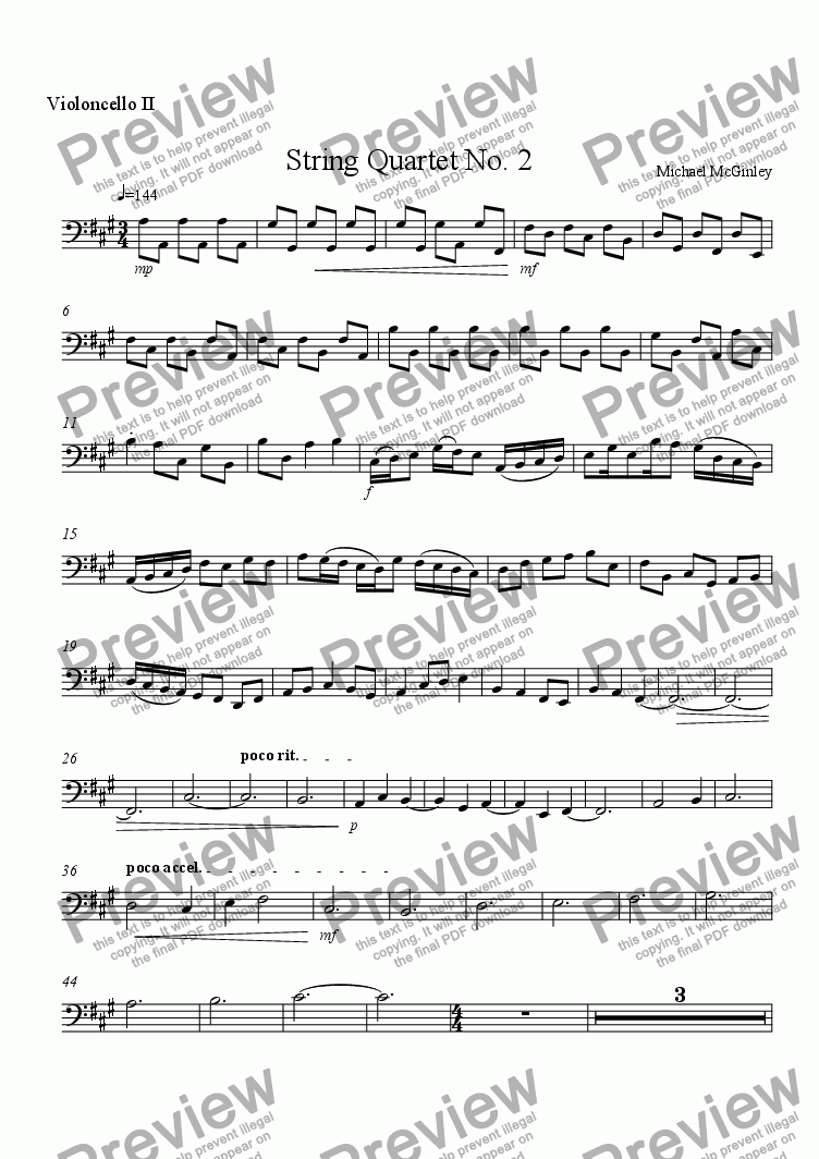 page one of the Cello II part from String Quartet #2