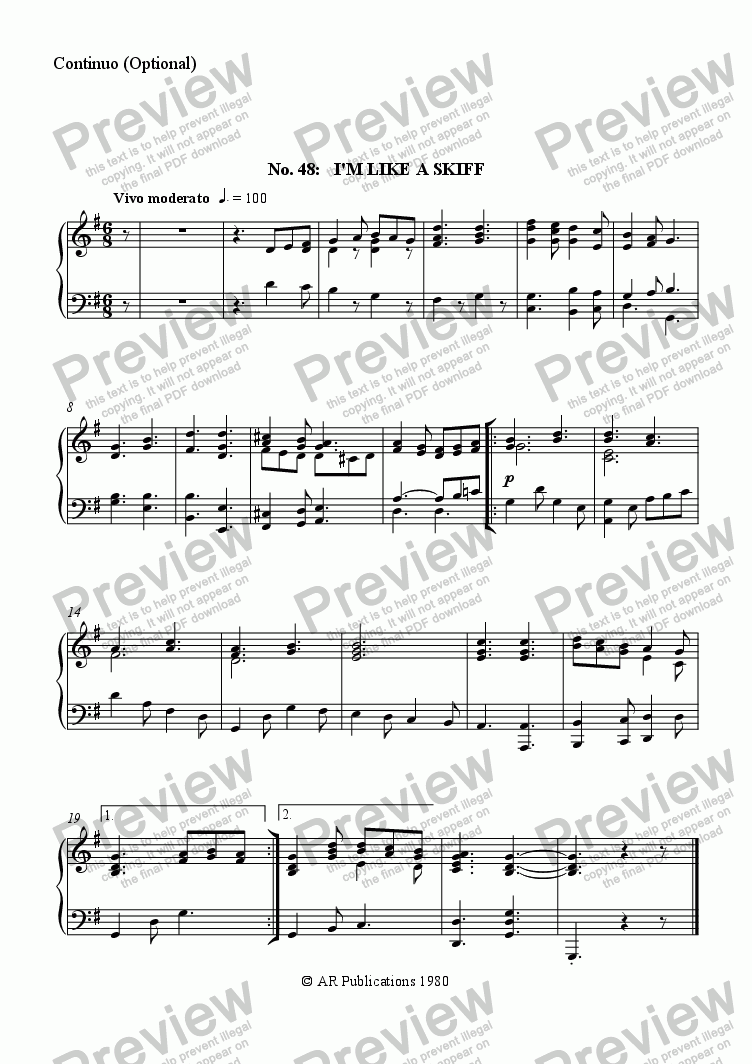 page one of the Continuo (Optional) part from Beggar's Opera - No. 48, 49 & 50