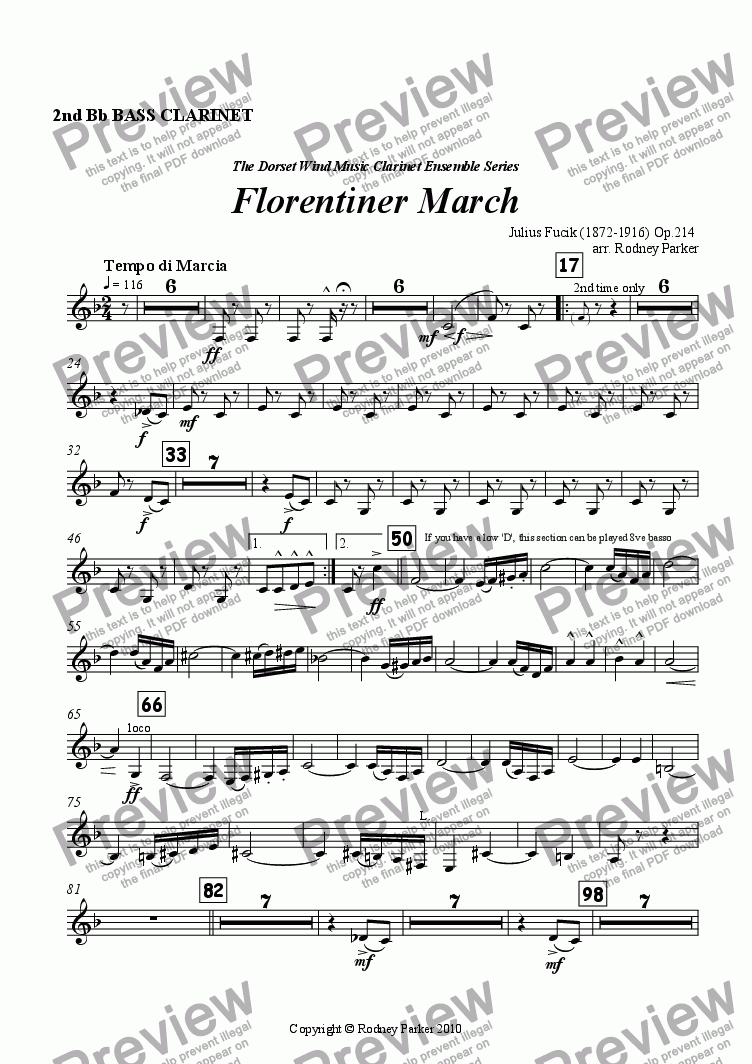 page one of the 2nd Bass Clarinet part from Florentiner March arr. for Clarinet Ensemble