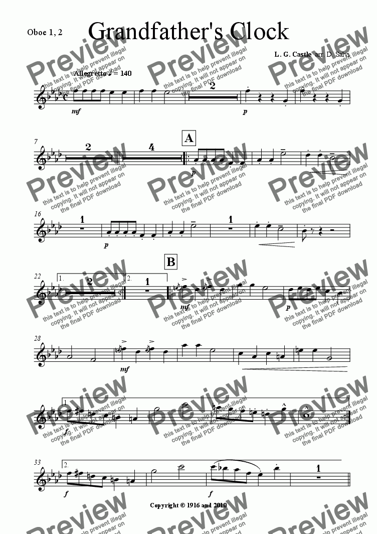 page one of the oboe part from Grandfather's Clock