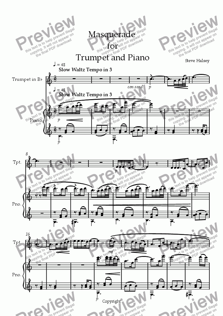 page one of the Trumpet in Bb part from Masquerade for Trumpet and Piano