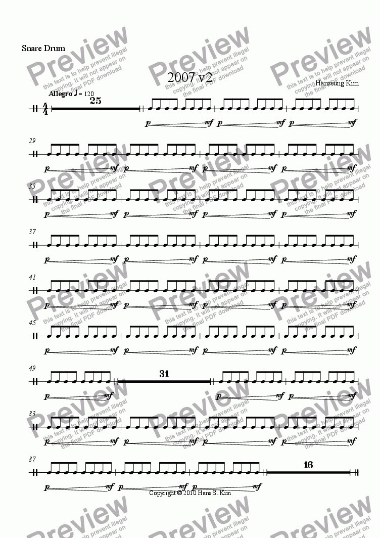 page one of the Snare Drum part from 2007 v2