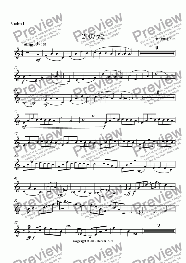 page one of the Violin 1 part from 2007 v2