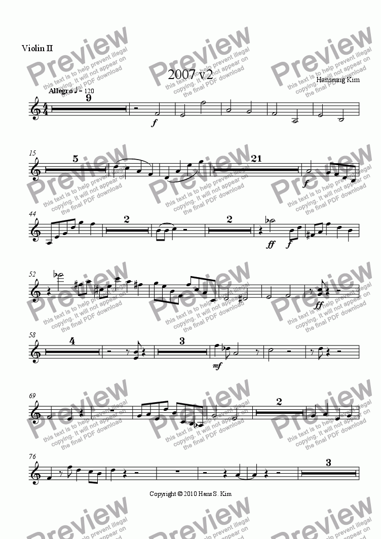 page one of the Violin 2 part from 2007 v2