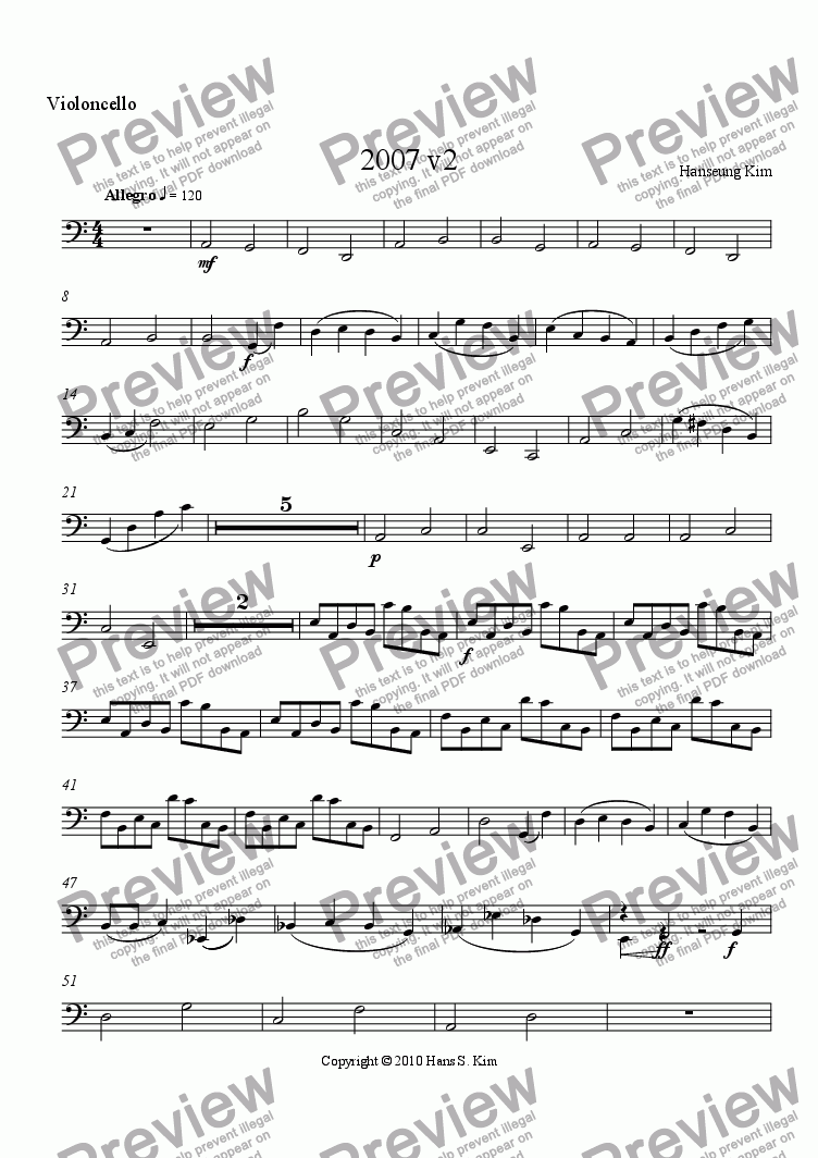 page one of the Cello part from 2007 v2