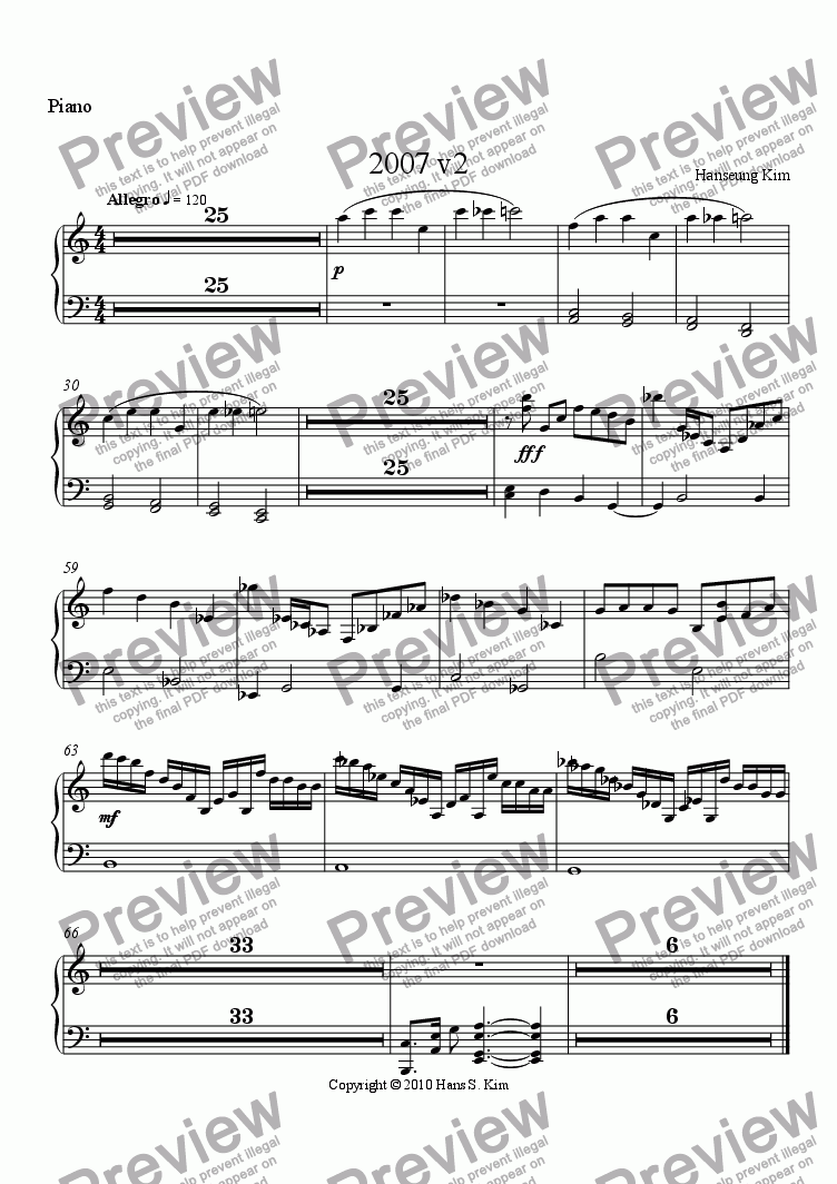 page one of the Piano part from 2007 v2
