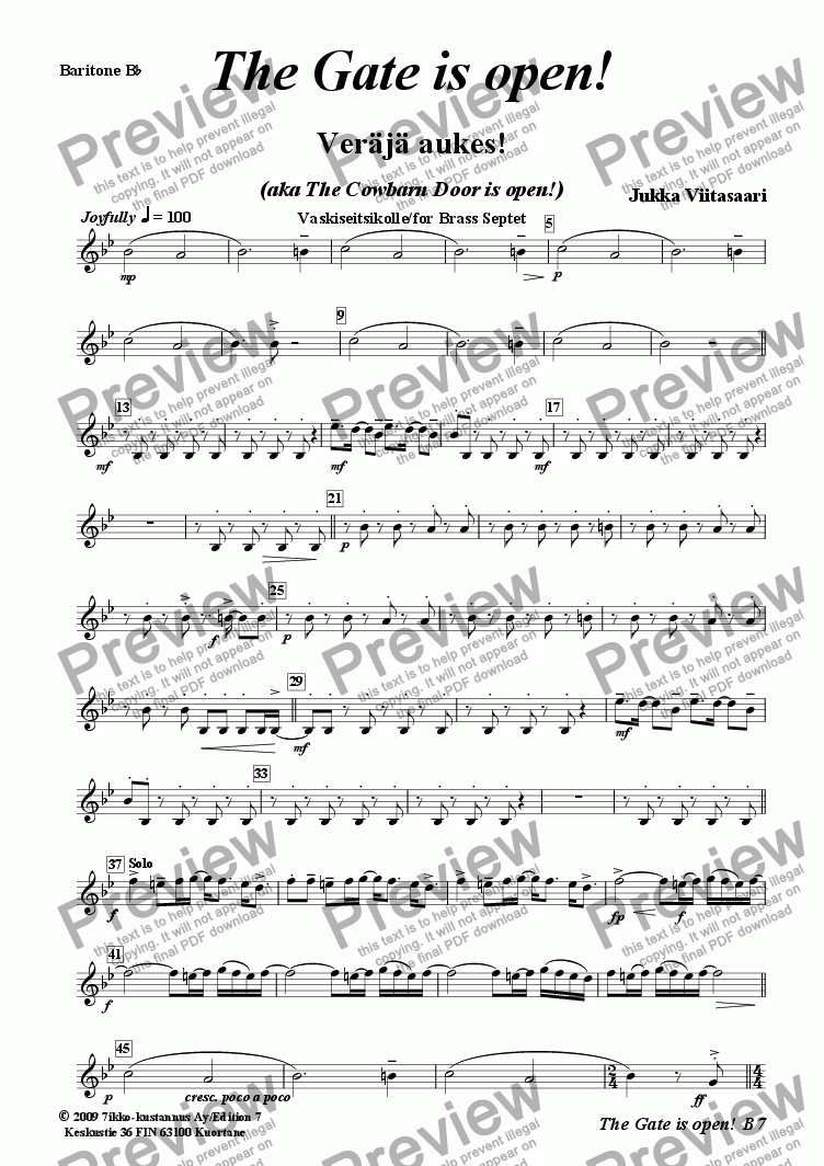 page one of the 6. Baritone in Bb (T.C.) part from The Gate is open! (Brass Septet)