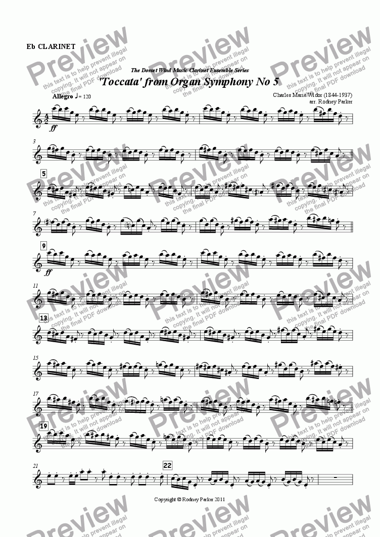 page one of the Eb Clarinet part from 'Toccata' from Organ Symphony No.5 arr. for Clarinet Ensemble