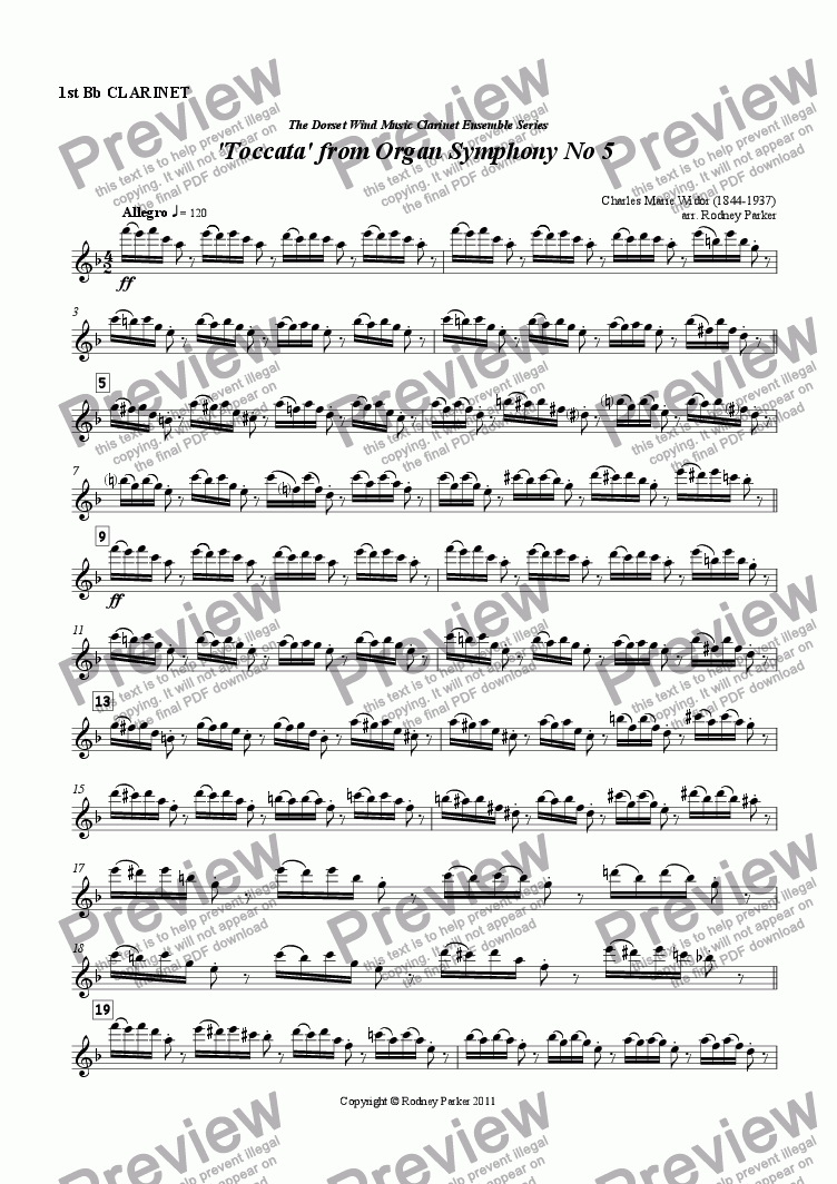 page one of the 1st Clarinet part from 'Toccata' from Organ Symphony No.5 arr. for Clarinet Ensemble