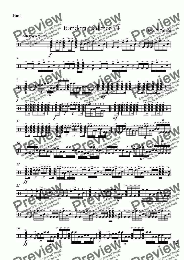 page one of the basses part from Random Cadence #1