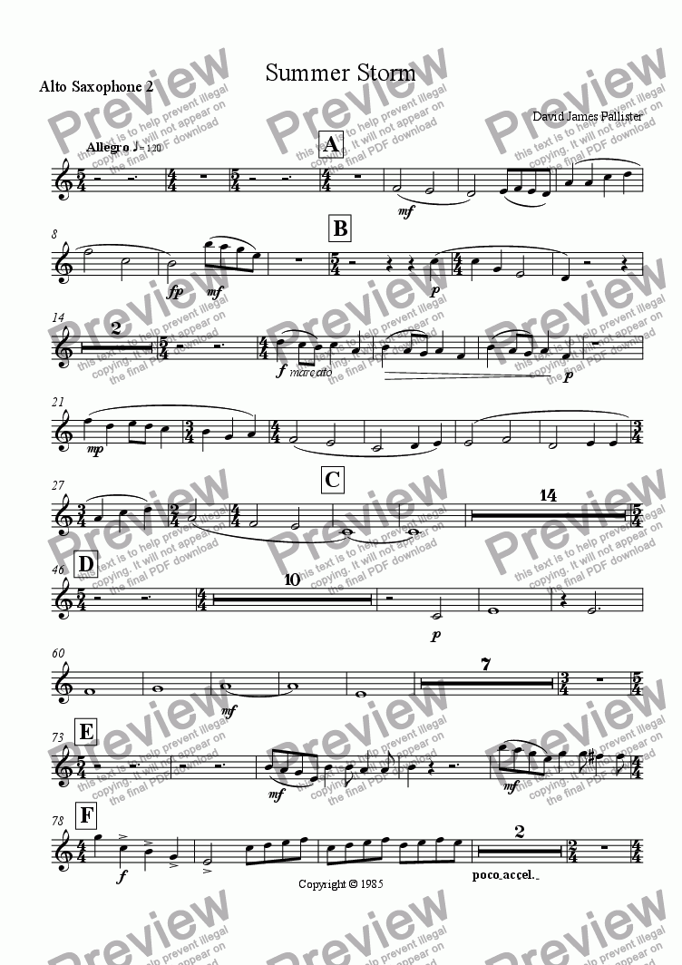 page one of the Alto Saxophone 2 part from Summer Storm