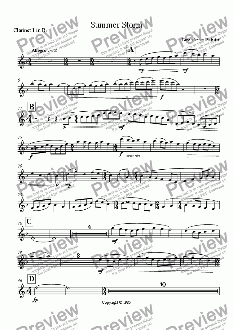 page one of the Clarinet 1 in B flat part from Summer Storm