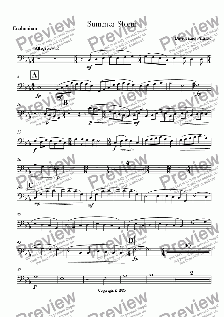 page one of the Euphonium part from Summer Storm