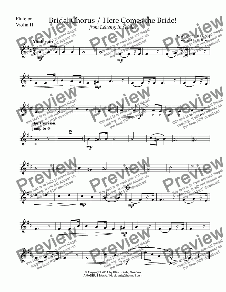 page one of the flute II part from Bridal Chorus from Lohengrin - Here Comes the Bride! for flute or violin duet and guitar (D major)