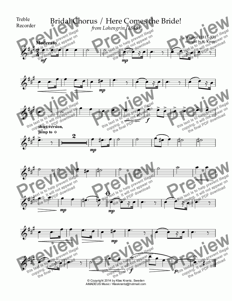 page one of the treble recorder part from Bridal Chorus from Lohengrin - Here Comes the Bride! for recorder duet and guitar
