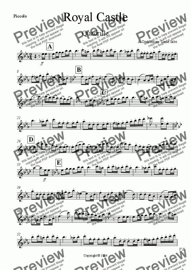 page one of the piccolo part from Royal Castle Quadrille