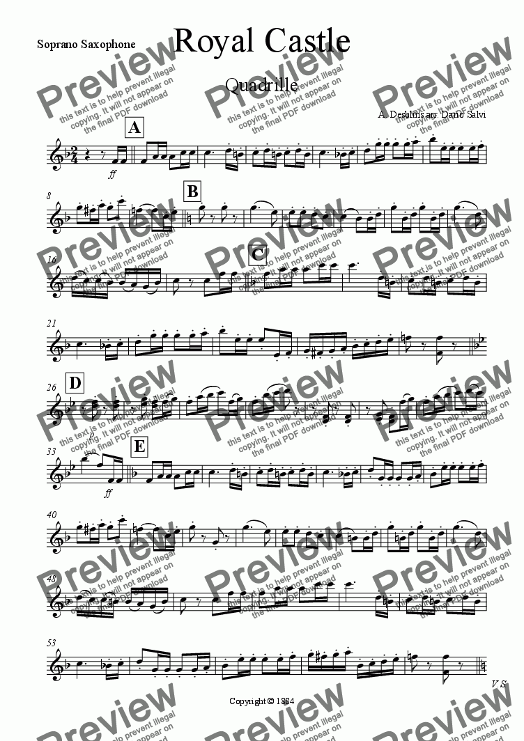 page one of the soprano sax part from Royal Castle Quadrille